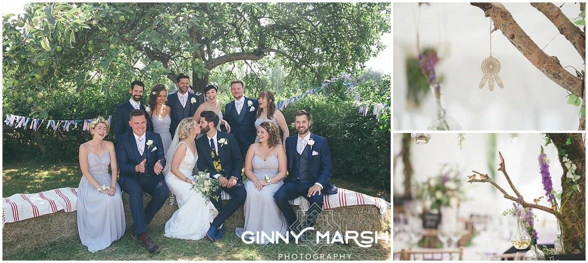 Boho country wedding photography at Groomes, Surrey