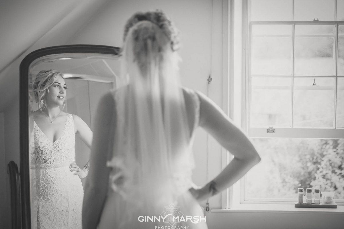 Bride in mirror | Groomes wedding venue | Ginny Marsh Photography