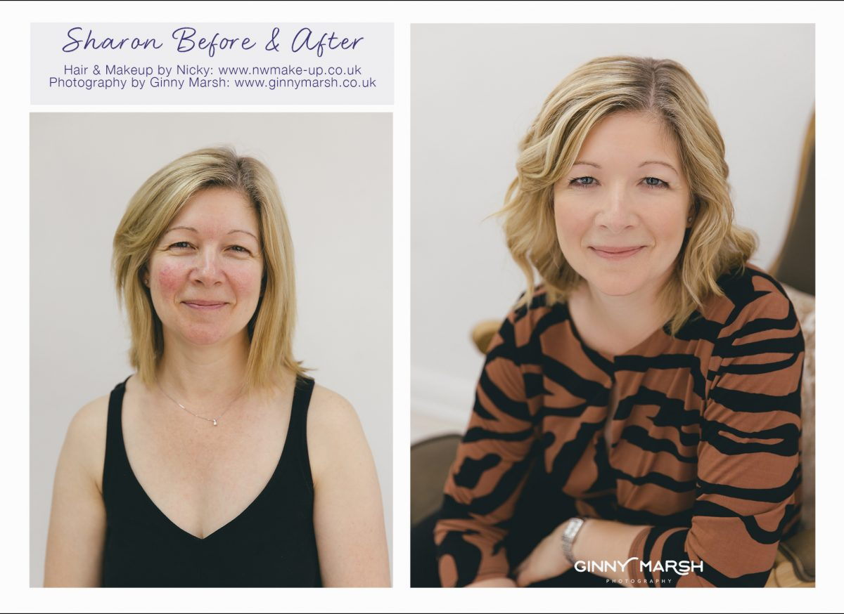Sharon's before and after, hair and make-up