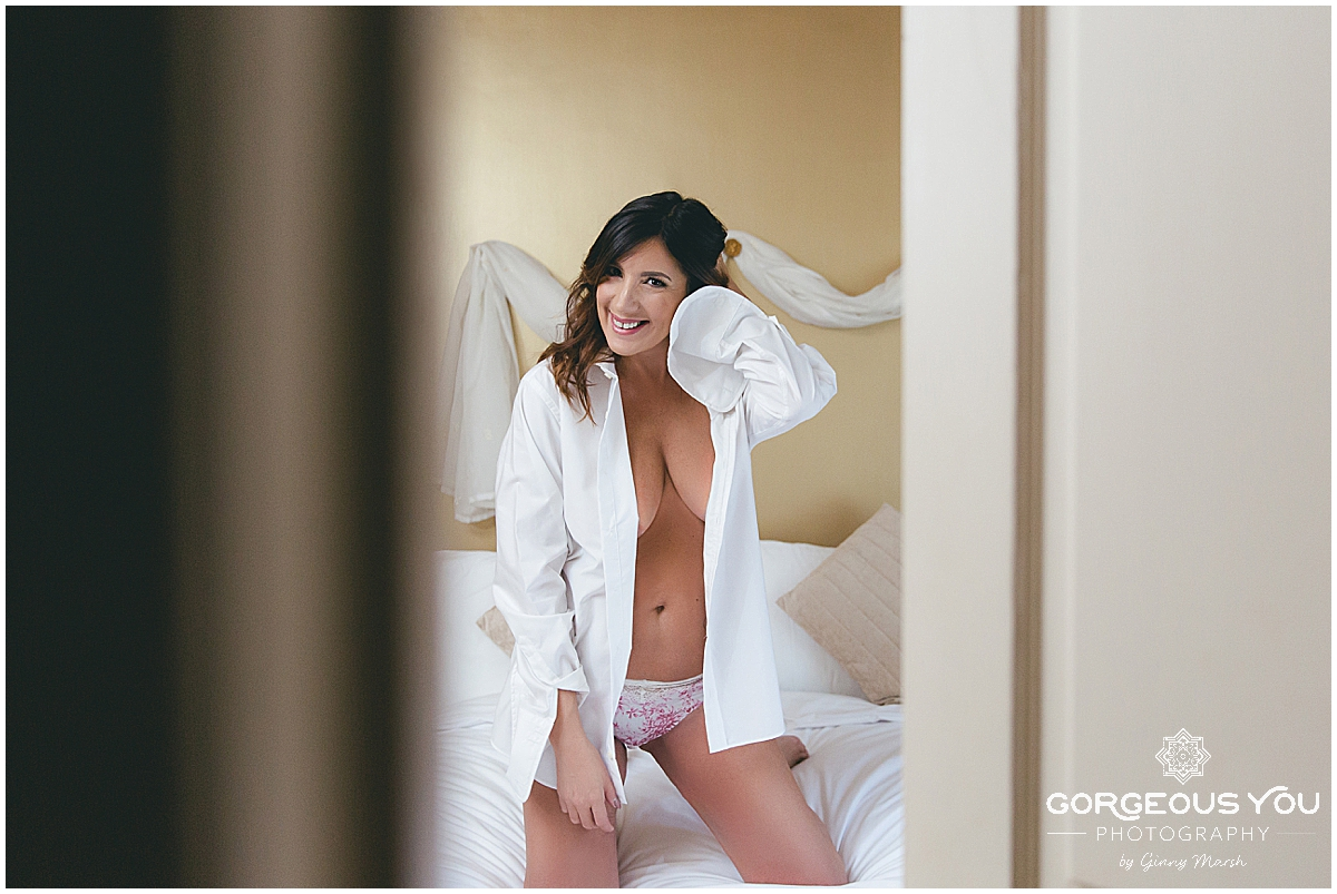Lisa Johnson Boudoir - white shirt | Gorgeous You Photography