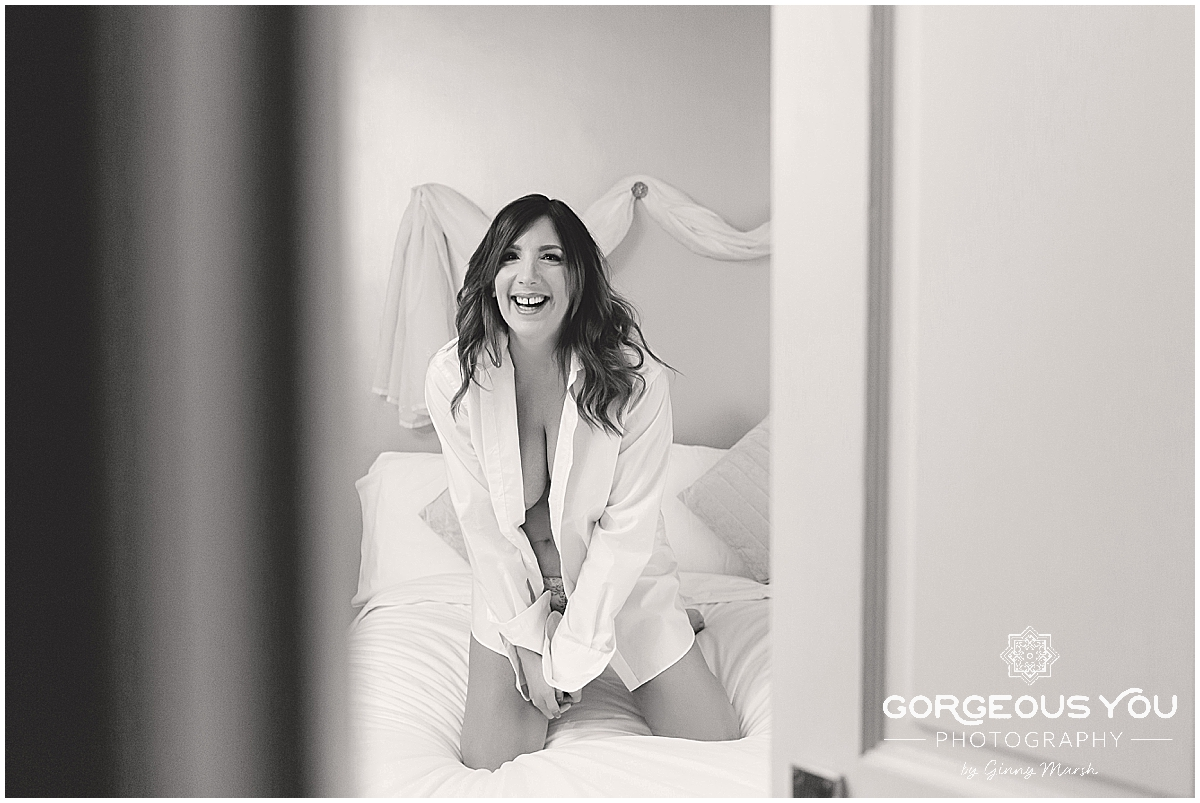 Lisa Johnson's fun Boudoir shoot - white shirt | Gorgeous You Photography