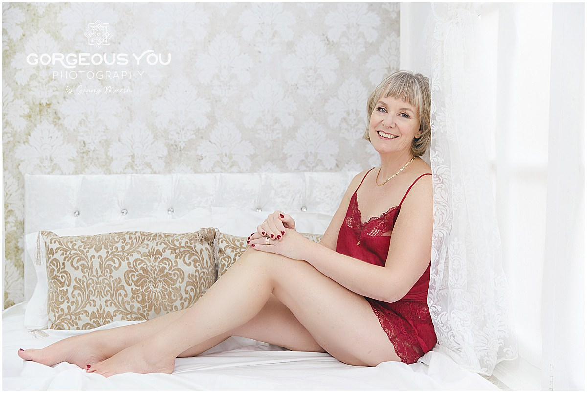 Linda's weight loss boudoir photoshoot - red nightwear | Gorgeous You Photography