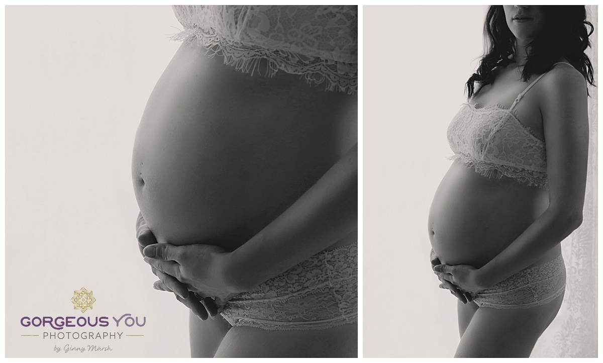 Black and white artistic Pregnancy Boudoir shoot - white floral set | Gorgeous You Photography